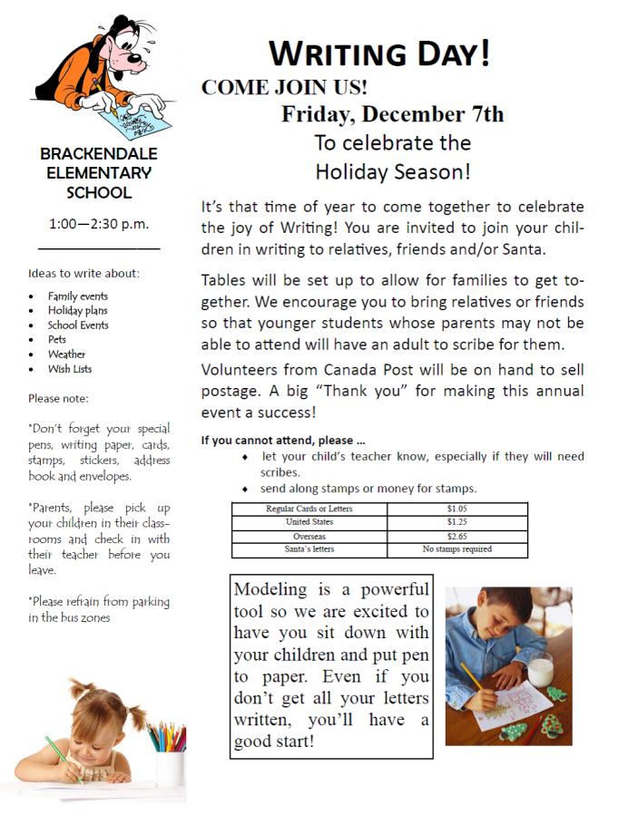 Writing day | Brackendale Elementary